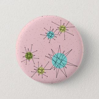Botón redondo atómico icónico rosado de Starbursts