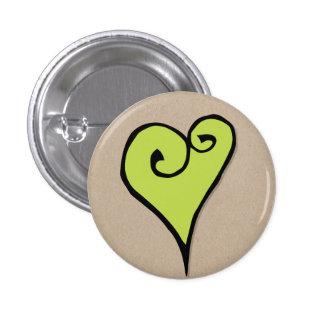 Botón redondo de Kraft del corazón del verde del a Pins