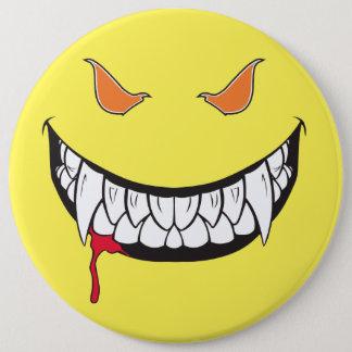 Botón redondo del amarillo feliz de la cara de la