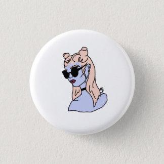 Botón redondo del chica cabelludo rosado