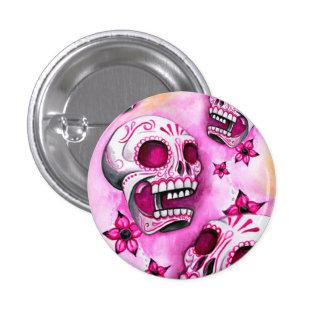 Botón redondo del cráneo rosado del azúcar