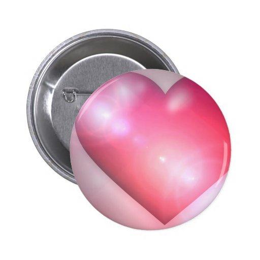Botón redondo del diseño rosado del corazón pins