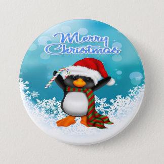 Botón redondo del pingüino de las Felices Navidad