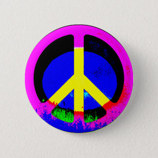 Botón redondo del signo de la paz psicodélico
