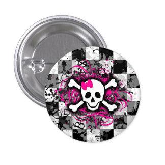 Botón redondo del tablero de damas femenino rosado