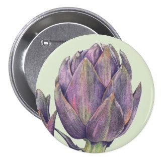 Botón redondo del verde púrpura de la alcachofa