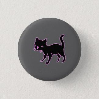Botón redondo lindo del gato negro