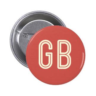 Botón redondo rojo del desayuno del friki