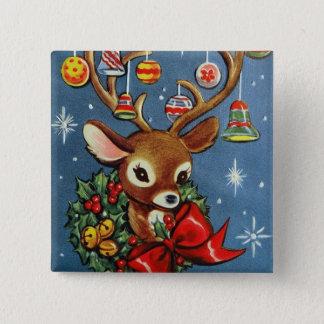 Botón retro del día de fiesta del navidad del reno