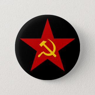 Botón rojo comunista de la estrella (martillo y