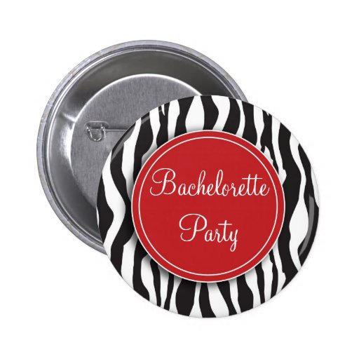 Botón rojo del fiesta de Bachelorette del estampad Pin