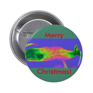 Botón rojo/verde de la ballena del navidad