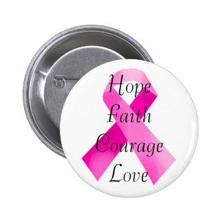 Botón rosado de la fe de la cinta