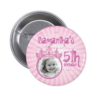 Botón rosado de princesa Crown Tiara Jeweled Photo