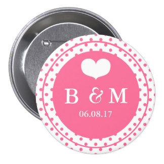 Botón rosado del boda de Polkadots y del monograma