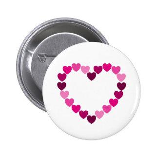 Botón rosado del corazón de los corazones pin