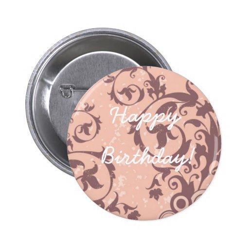 Botón rosado del feliz cumpleaños pin