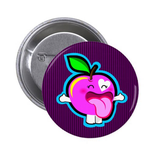 Botón rosado feliz de la manzana pins