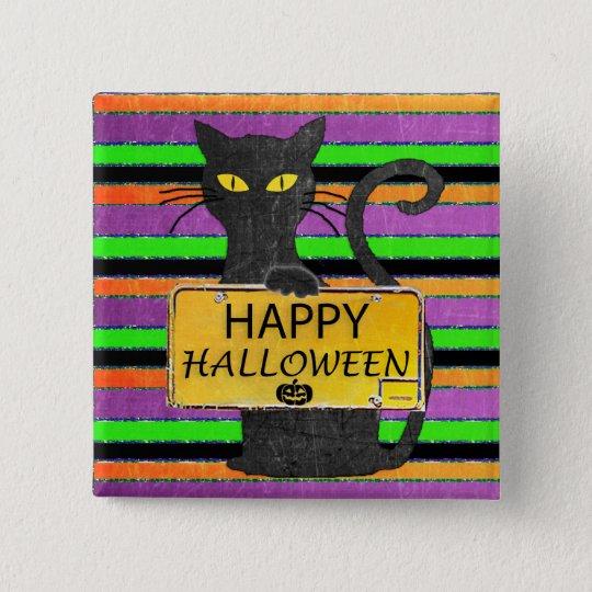 Botón rústico de la muestra del gato negro del