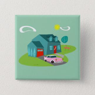 Botón suburbano retro del cuadrado de la casa