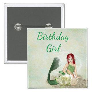 Botón temático del chica del cumpleaños de la