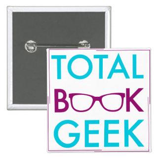 Botón total del friki del libro chapa cuadrada 5 cm