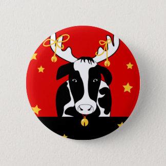 Botón trasero del Pin de la vaca del navidad