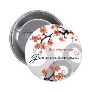 Botón tropical de la etiqueta del nombre del boda