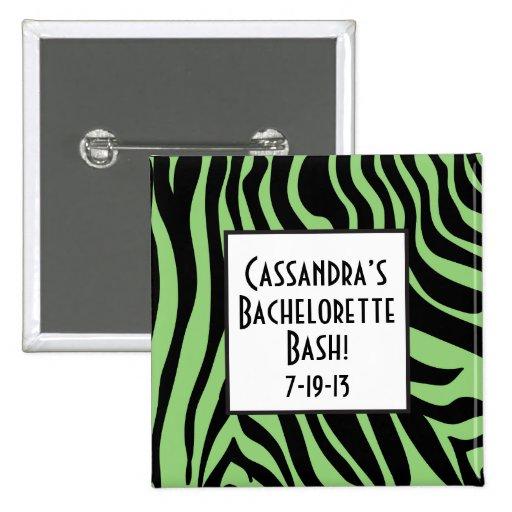 Botón verde de Bachelorette del estampado de zebra Pins