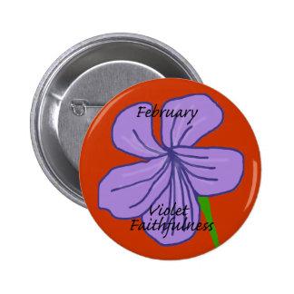 Botón violeta de la fidelidad de febrero pins