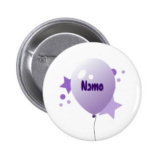 Botón violeta del nombre del globo del fiesta