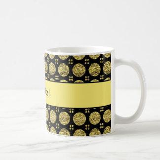 Botones amarillos brillantes glamorosos del brillo taza de café