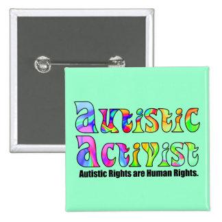 Botones autísticos del activista chapa cuadrada