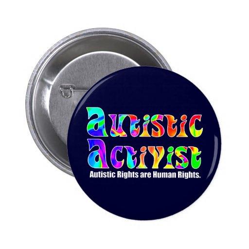 Botones autísticos del activista (color) pin