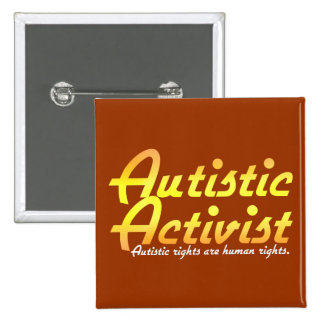 Botones autísticos del activista (oro) chapa cuadrada