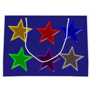 Botones coloridos de la estrella bolsa de regalo grande