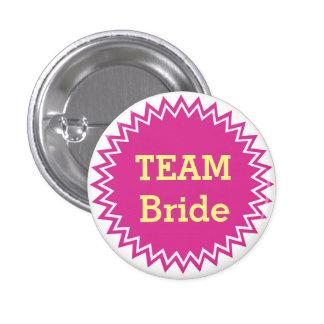 Botones de encargo de la novia del equipo del boda chapa redonda de 2,5 cm