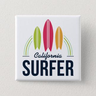 Botones de encargo de la persona que practica surf chapa cuadrada