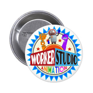 Botones de la animación del estudio del trabajador chapa redonda de 5 cm