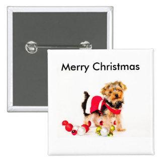 Botones de las Felices Navidad de York Chapa Cuadrada