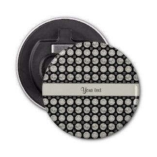Botones de plata brillantes glamorosos del brillo abrebotellas