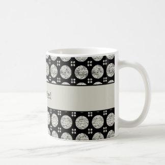 Botones de plata brillantes glamorosos del brillo taza de café