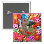 Botones del cumpleaños: 003 mariposas y flores pin