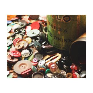 Botones del vintage lienzo envuelto para galerias