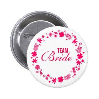 Botones modernos de encargo de la novia del equipo chapa redonda de 5 cm