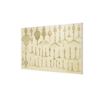 Botones ornamentales formados como bóvedas y almin impresión en lienzo