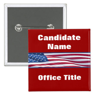 Botones políticos de la campaña electoral de chapa cuadrada 5 cm