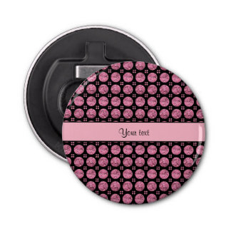 Botones rosados brillantes glamorosos del brillo abrebotellas