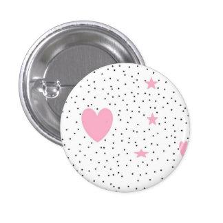 botones rosados del corazón chapa redonda de 2,5 cm