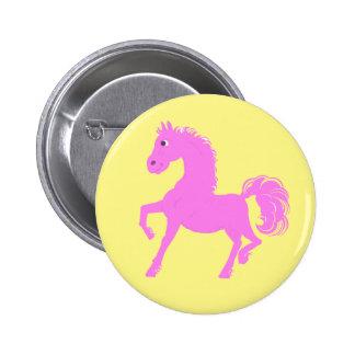 Botones rosados del potro, fondo amarillo chapa redonda de 5 cm